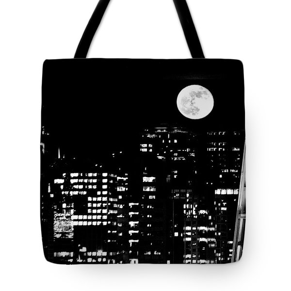 Moonrise Seattle Tote Bag by Benjamin Yeager