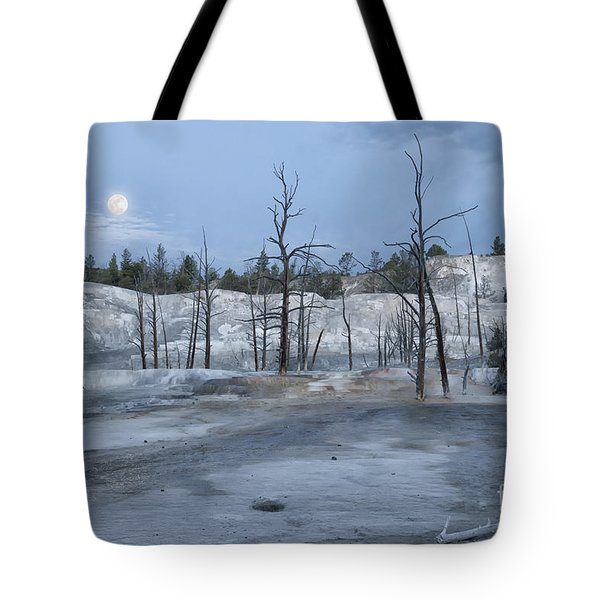 Moonset At Mammoth Terrace-yellowstone Tote Bag by Sandra Bronstein