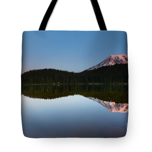 Moonset Over Rainier Tote Bag by Mike  Dawson