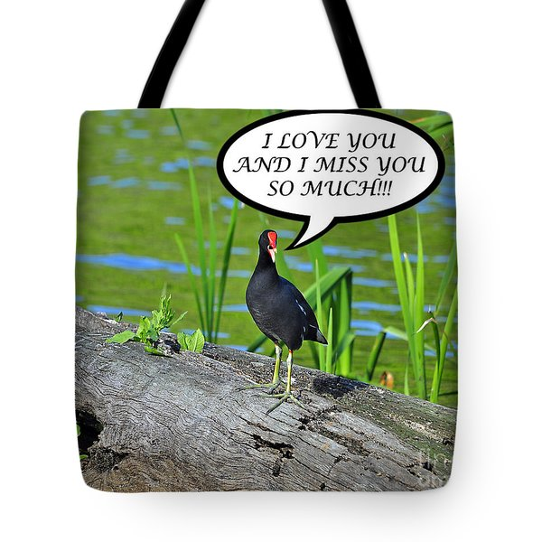 Moorhen Miss You Card Tote Bag by Al Powell Photography USA