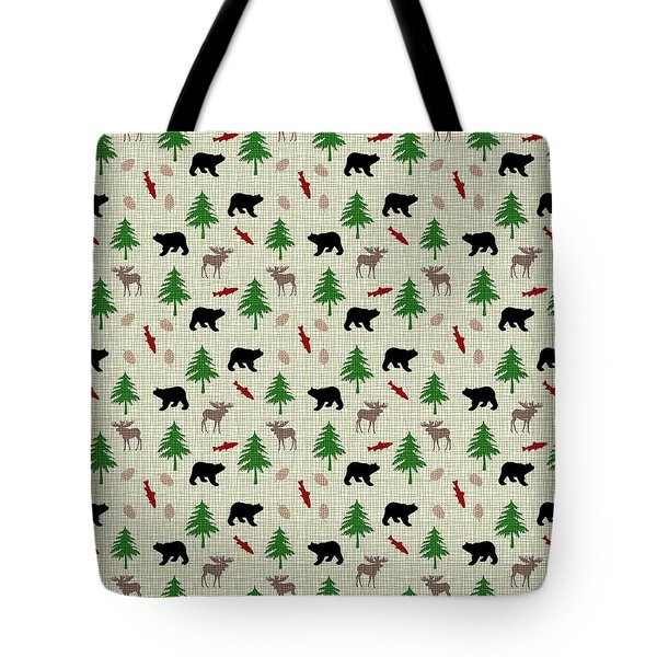 Moose And Bear Pattern Tote Bag by Christina Rollo
