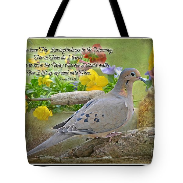 Morning Dove With Verse Tote Bag by Debbie Portwood