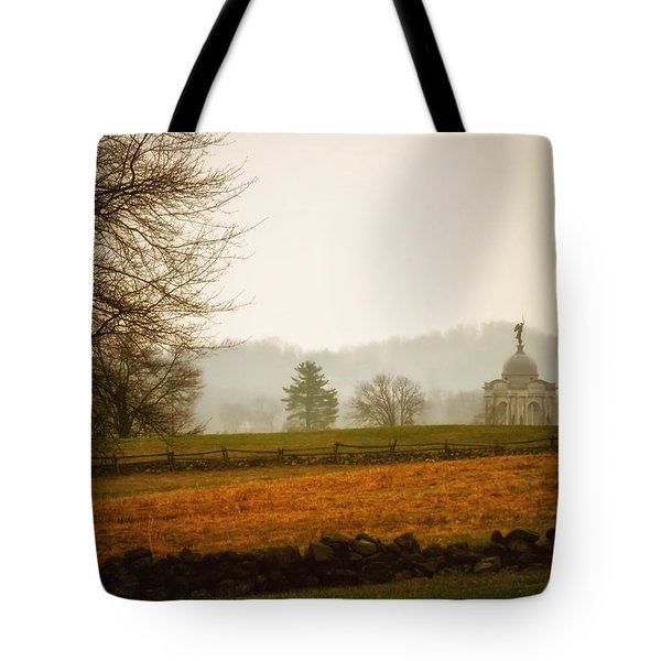 Morning Fog at Gettysburg Tote Bag by Mountain Dreams