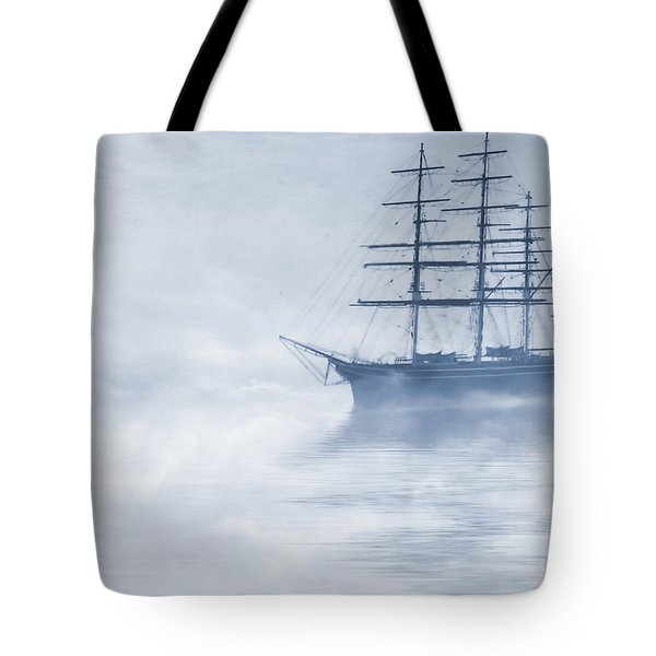 Morning Mists Cyanotype Tote Bag by John Edwards