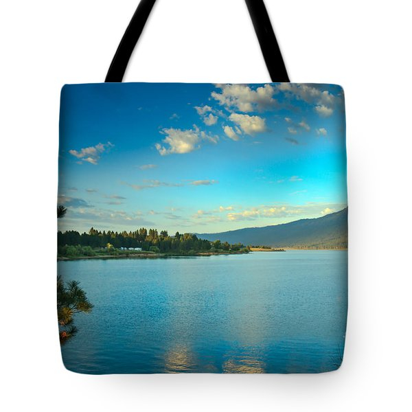Morning Reflections On Lake Cascade Tote Bag by Robert Bales