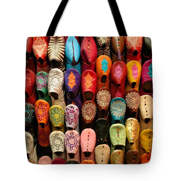 Moroccan Babouches Old Medina Marrakesh Morocco Tote Bag by Ralph A  Ledergerber-Photography