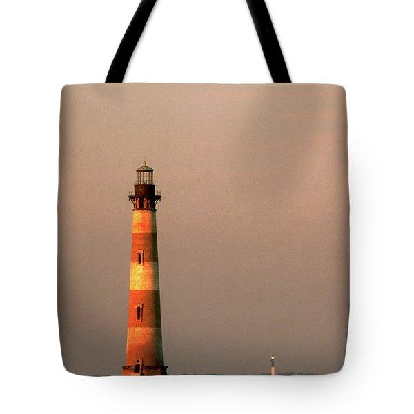 Morris Island  And Sulivan Island Lighthouses  Tote Bag by John Harmon