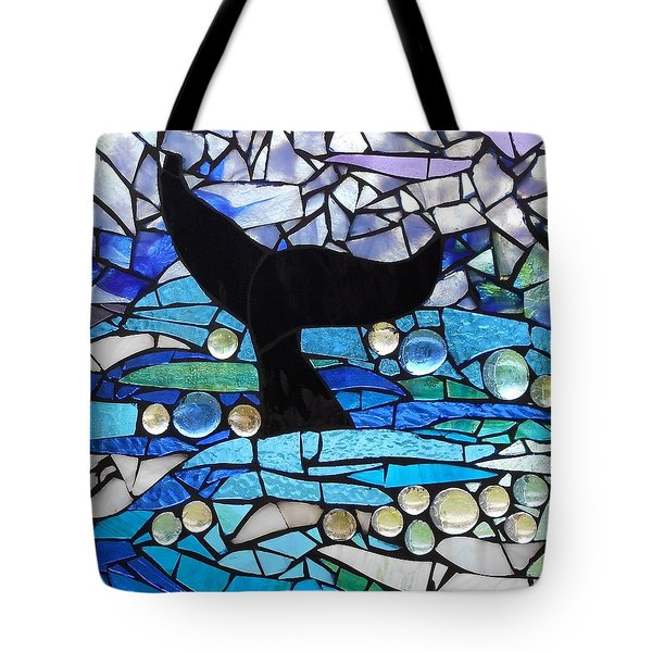 Mosaic Stained Glass - Whale Tail Tote Bag by Catherine Van Der Woerd