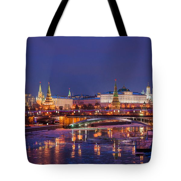 Moscow Kremlin And Big Stone Bridge At Winter Night - Featured 3 Tote Bag by Alexander Senin