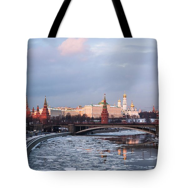 Moscow Kremlin In Winter Evening - Featured 3 Tote Bag by Alexander Senin