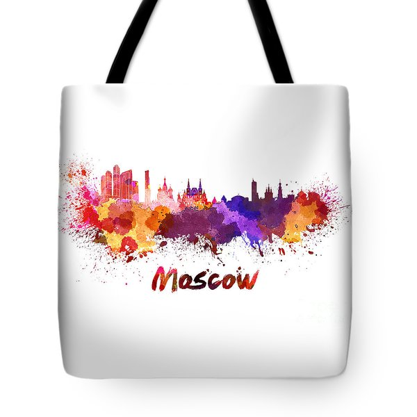 Moscow Skyline In Watercolor Tote Bag by Pablo Romero