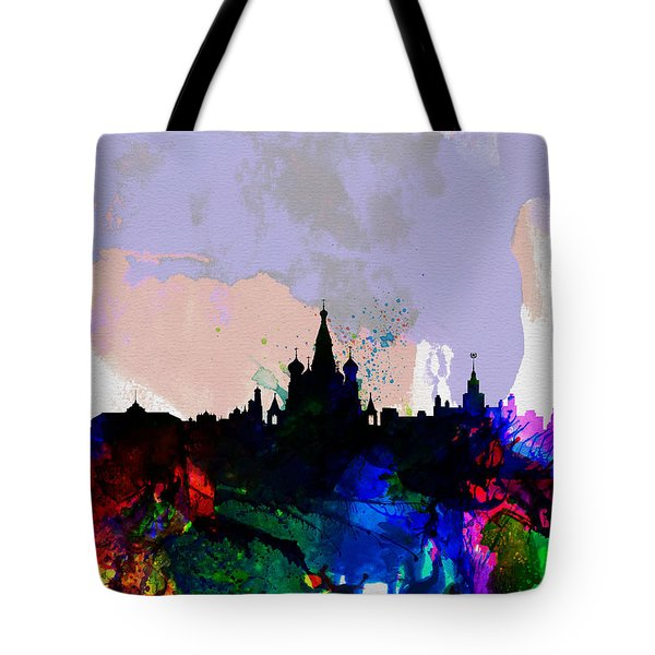 Moscow Watercolor Skyline Tote Bag by Naxart Studio