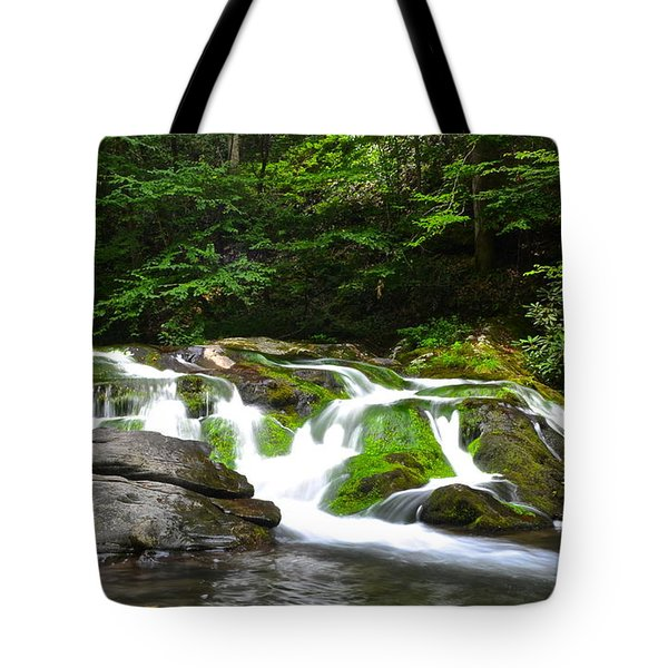 Mossy Mountain Falls Tote Bag by Frozen in Time Fine Art Photography
