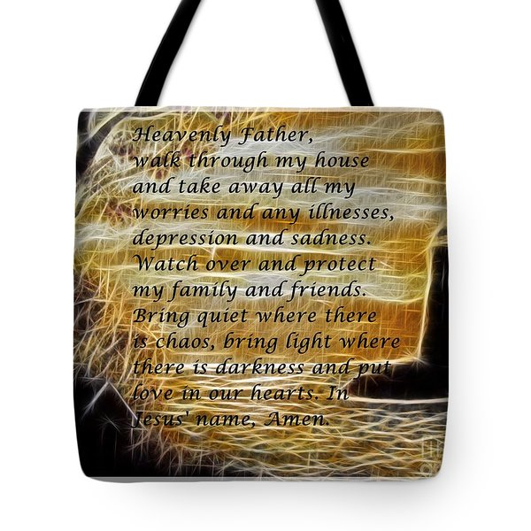 Most Powerful Prayer With Lighthouse Scene Tote Bag by Barbara Griffin