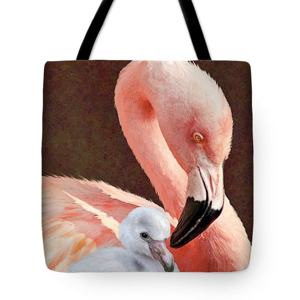 Mother and baby flamingo Tote Bag by Jane Schnetlage
