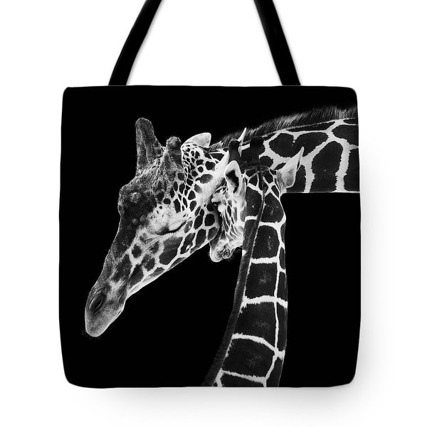 Mother And Baby Giraffe Tote Bag by Adam Romanowicz