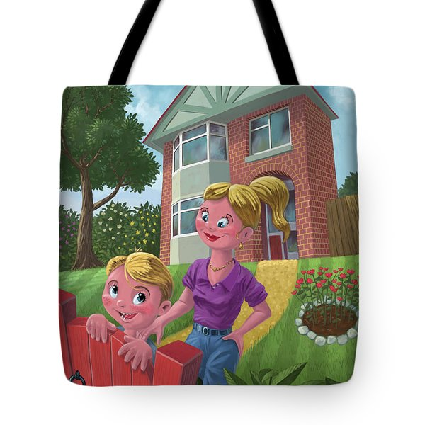 Mother And Son In Garden Tote Bag by Martin Davey