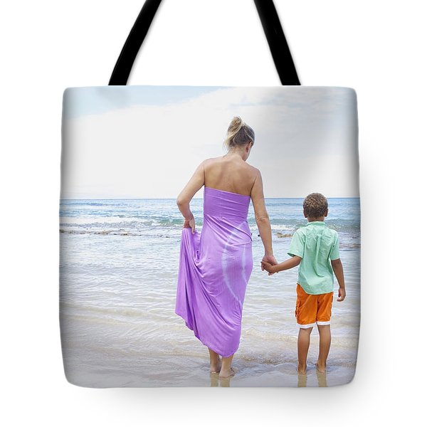 Mother and Son on Beach Tote Bag by Kicka Witte
