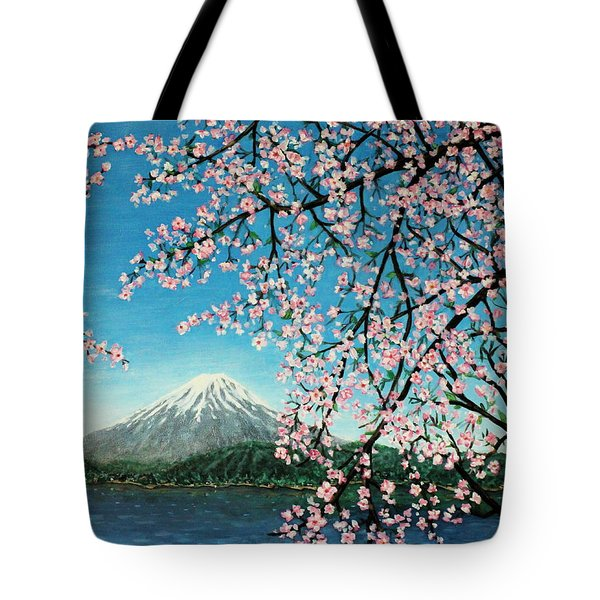 Mount Fuji Cherry Blossoms Tote Bag by Sheena Kohlmeyer