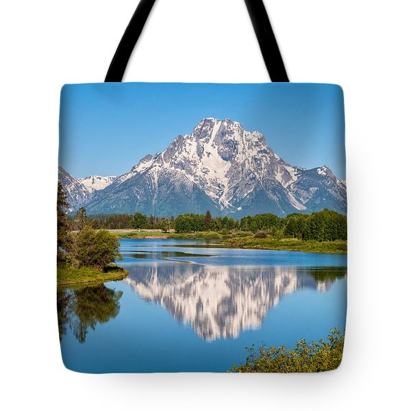 Mount Moran on Snake River Landscape Tote Bag by Brian Harig