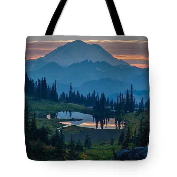Mount Rainier Layers Tote Bag by Mike Reid