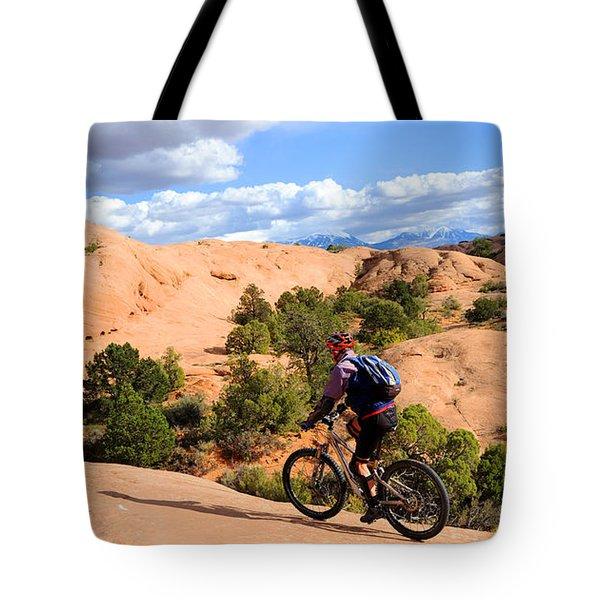 Mountain Biking Moab Slickrock Trail - Utah Tote Bag by Gary Whitton
