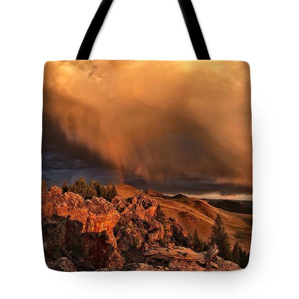 Mountain Drama Tote Bag by Leland D Howard