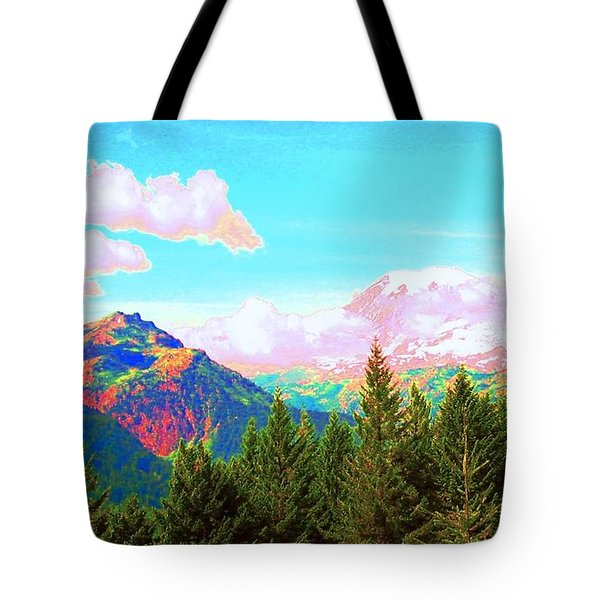 Mountain Fantasy Tote Bag by Ann Johndro-Collins