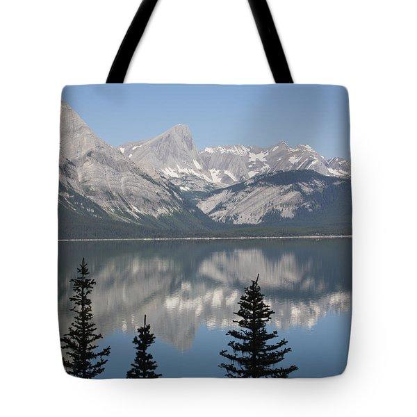 Mountain Lake Reflecting Mountain Range Tote Bag by Michael Interisano