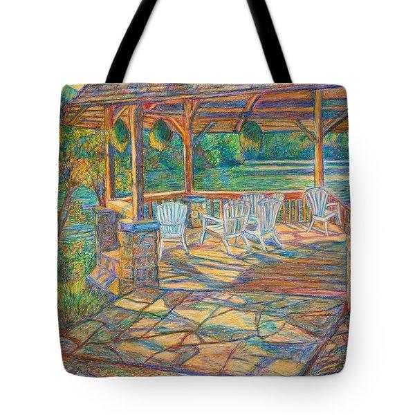 Mountain Lake Shadows Tote Bag by Kendall Kessler