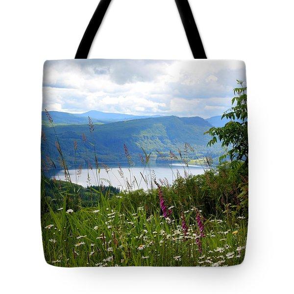 Mountain Lake Viewpoint Tote Bag by Carol Groenen