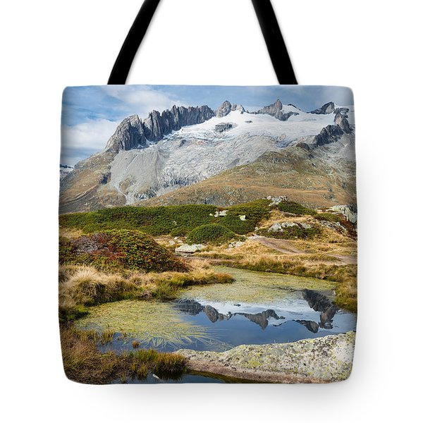 Mountain Landscape Water Reflection Swiss Alps Tote Bag by Matthias Hauser