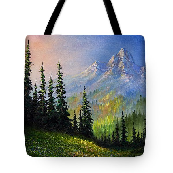 Mountain Morning Tote Bag by C Steele