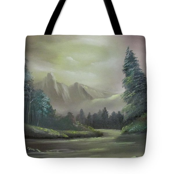 Mountain River Tote Bag by Dawn Nickel