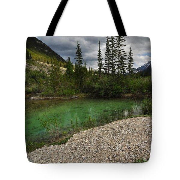 Mountain Scene Near A Small Pond In Kananaskis Country Alberta Canada Tote Bag by Michael Mckinney