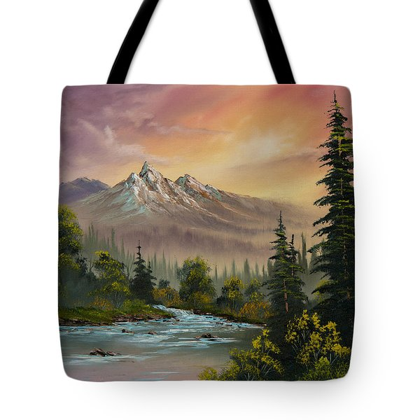 Mountain Sunset Tote Bag by C Steele