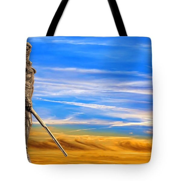 Mountaineer Statue With Blue Gold Sky Tote Bag by Dan Friend