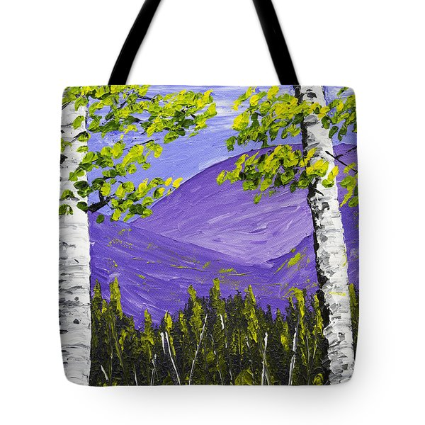 Mountains and birch trees in spring pallete knife painting tote bag by