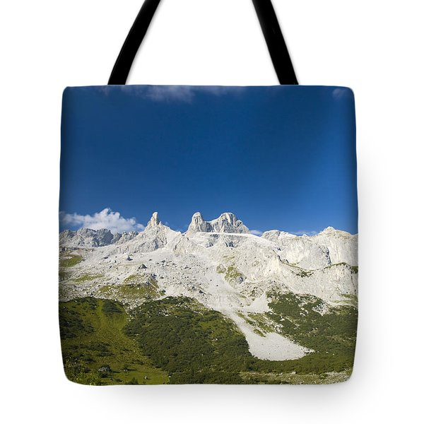 Mountains In The Alps Tote Bag by Chevy Fleet