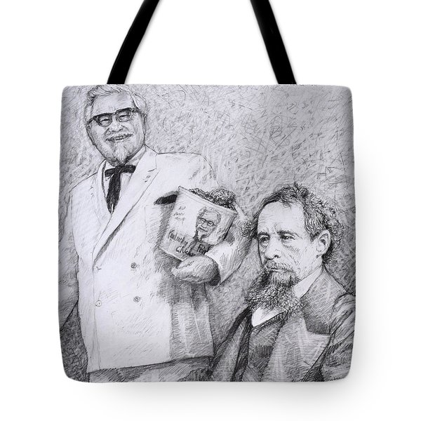 Mr Chicken And Mr Dickens Tote Bag by James W Johnson