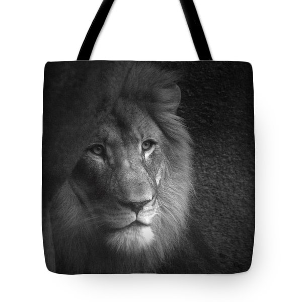 Mr Lion In Black And White Tote Bag by Thomas Woolworth