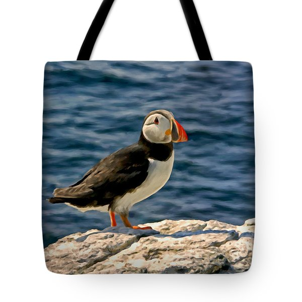 Mr. Puffin Tote Bag by Michael Pickett