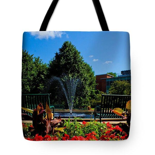 Msu Water Fountain Tote Bag by John McGraw