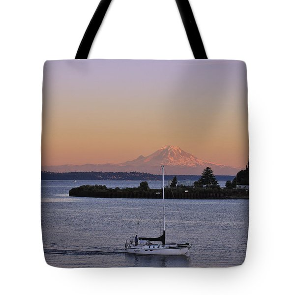 Mt. Rainier Afterglow Tote Bag by Adam Romanowicz