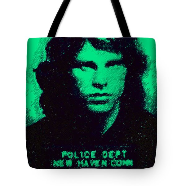 Mugshot Jim Morrison p128 Tote Bag by Wingsdomain Art and Photography