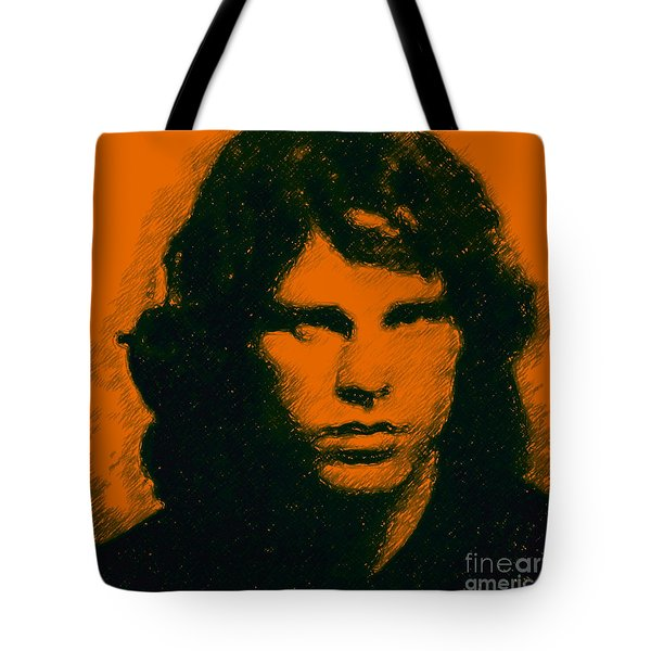 Mugshot Jim Morrison Square Tote Bag by Wingsdomain Art and Photography