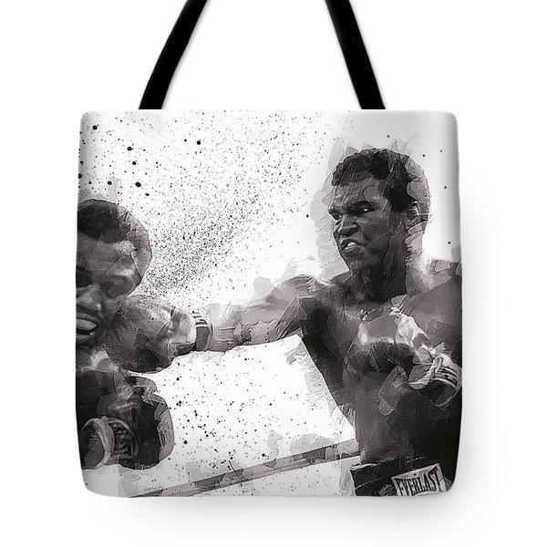 Muhammad Ali Vs Joe Frazier Tote Bag by Daniel Hagerman