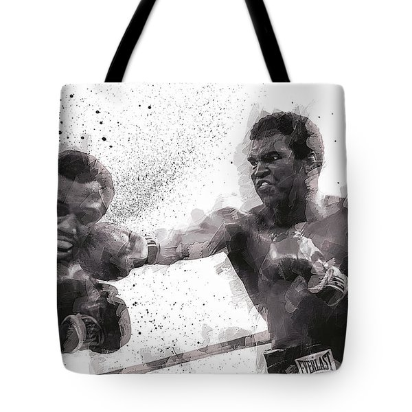 Muhammad Ali Vs Joe Frazier Tote Bag by Daniel Hagerman