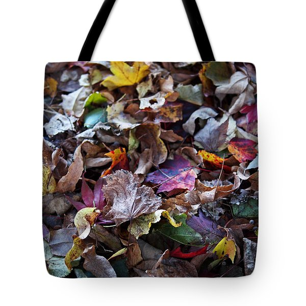 Multicolored Autumn Leaves Tote Bag by Rona Black