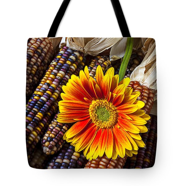 Mum And Indian Corn Tote Bag by Garry Gay